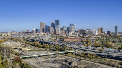 DXP001_000305 - Aerial stock photo of The I-394 freeway and the city's skyline, Downtown Minneapolis, Minnesota