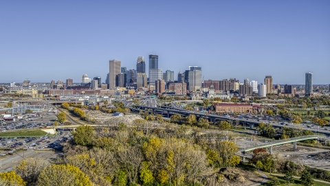 DXP001_000306 - Aerial stock photo of The I-394 freeway, and the city's skyline in the background, Downtown Minneapolis, Minnesota