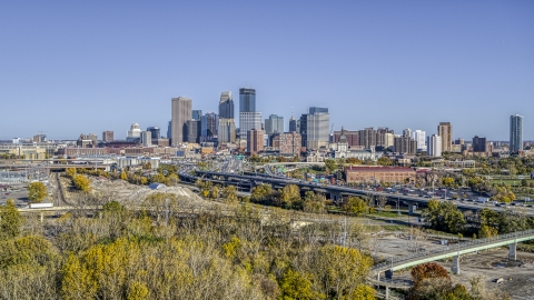 DXP001_000307 - Aerial stock photo of The city's skyline behind the I-394 freeway, Downtown Minneapolis, Minnesota