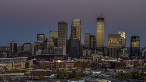DXP001_000335 - Aerial stock photo of The giant skyscrapers of the city's skyline at twilight, Downtown Minneapolis, Minnesota