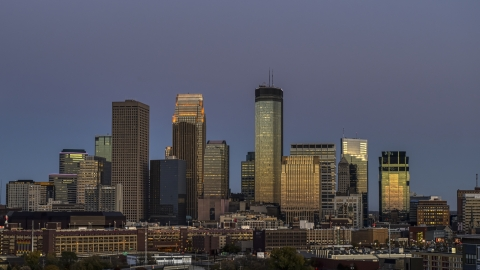 DXP001_000341 - Aerial stock photo of A view of the city's skyline at twilight, Downtown Minneapolis, Minnesota