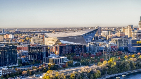 DXP001_000358 - Aerial stock photo of US Bank Stadium at sunrise, Downtown Minneapolis, Minnesota