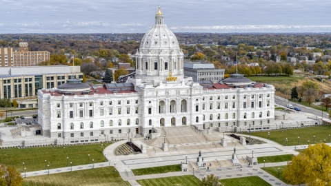 DXP001_000374 - Aerial stock photo of The front of the Minnesota State Capitol building in Saint Paul, Minnesota