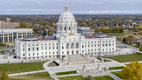 DXP001_000375 - Aerial stock photo of The front of the Minnesota State Capitol in Saint Paul, Minnesota