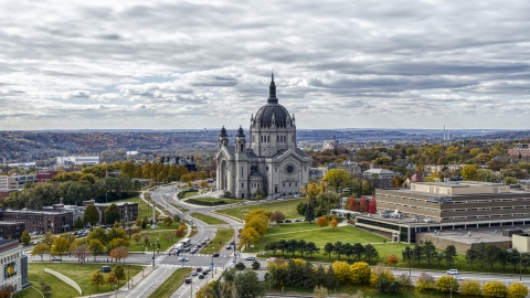 DXP001_000379 - Aerial stock photo of The Cathedral of Saint Paul in Saint Paul, Minnesota