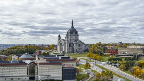 DXP001_000381 - Aerial stock photo of The Cathedral of Saint Paul seen from Minnesota History Center in Saint Paul, Minnesota
