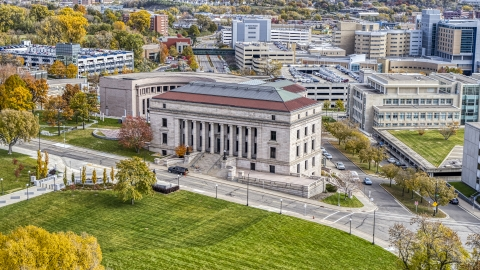 DXP001_000384 - Aerial stock photo of The Minnesota Judicial Center courthouse building in Saint Paul, Minnesota