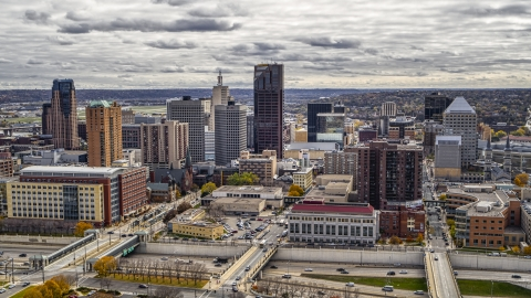 DXP001_000385 - Aerial stock photo of City buildings and skyline of Downtown Saint Paul, Minnesota
