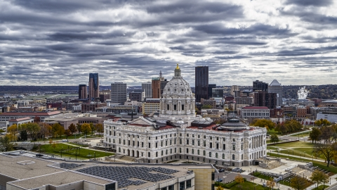 DXP001_000390 - Aerial stock photo of The Minnesota State Capitol building with the city skyline behind it, Saint Paul, Minnesota