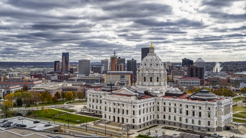 DXP001_000391 - Aerial stock photo of The Minnesota State Capitol building with the city skyline in the background, Saint Paul, Minnesota