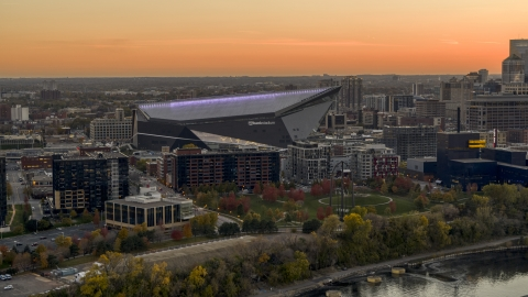 DXP001_000432 - Aerial stock photo of US Bank Stadium at sunset, Downtown Minneapolis, Minnesota