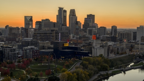 DXP001_000435 - Aerial stock photo of The downtown skyline at sunset, Downtown Minneapolis, Minnesota