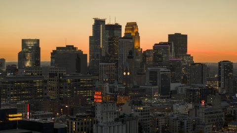 DXP001_000440 - Aerial stock photo of The city's towering downtown skyline at twilight, Downtown Minneapolis, Minnesota
