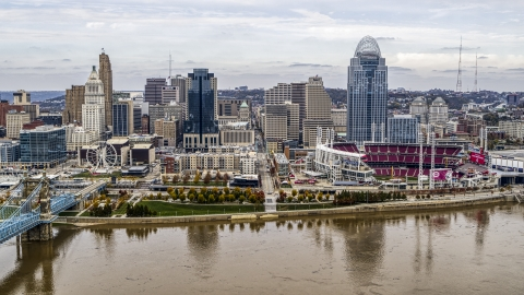 DXP001_000451 - Aerial stock photo of The city's skyline and baseball stadium by the Ohio River, Downtown Cincinnati, Ohio