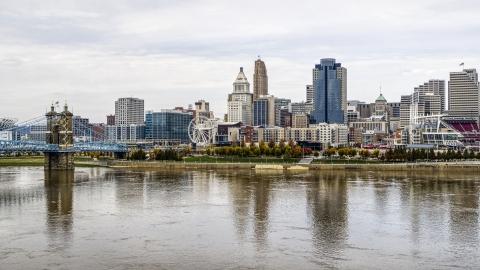DXP001_000453 - Aerial stock photo of The city's skyline near the Ohio River, Downtown Cincinnati, Ohio