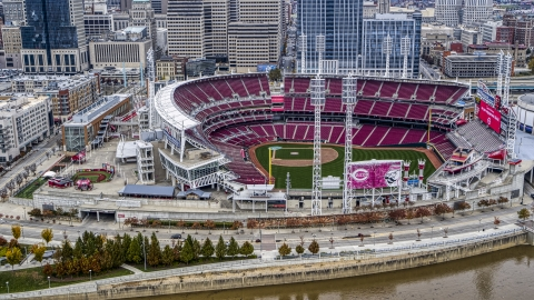 DXP001_000455 - Aerial stock photo of The Great American Ball Park baseball stadium in Downtown Cincinnati, Ohio