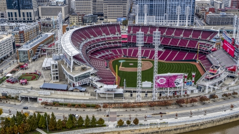 DXP001_000456 - Aerial stock photo of Great American Ball Park baseball stadium in Downtown Cincinnati, Ohio
