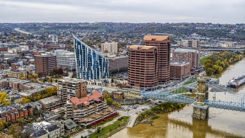 DXP001_000462 - Aerial stock photo of Condominium complex and two office buildings by the Ohio River in Covington, Kentucky