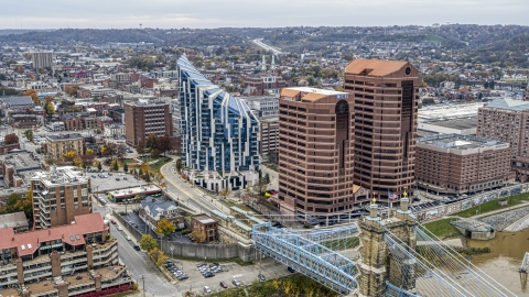 DXP001_000463 - Aerial stock photo of Condominium complex and two office buildings beside the Ohio River in Covington, Kentucky