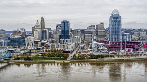 DXP001_000475 - Aerial stock photo of City's skyline and the baseball stadium seen from the Ohio River, Downtown Cincinnati, Ohio