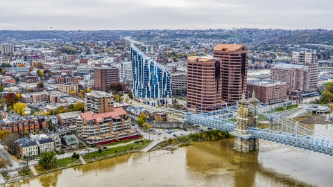 DXP001_000478 - Aerial stock photo of Condo complex and riverfront office buildings by the Roebling Bridge, Covington, Kentucky