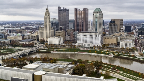 DXP001_000497 - Aerial stock photo of The city's skyline across the Scioto River, Downtown Columbus, Ohio