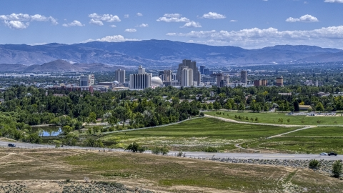 DXP001_004_0001 - Aerial stock photo of A wide view of the city's skyline in Reno, Nevada
