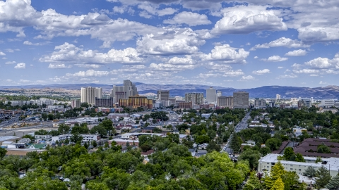 DXP001_004_0007 - Aerial stock photo of The city's skyline seen from west of the city in Reno, Nevada