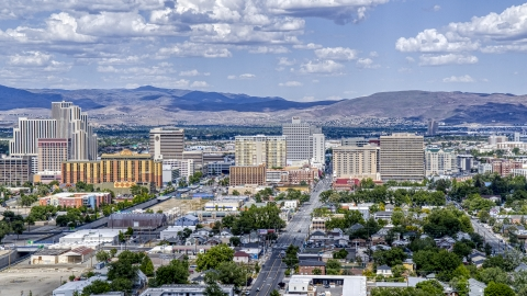 DXP001_004_0010 - Aerial stock photo of A view of the casino resorts of Reno, Nevada