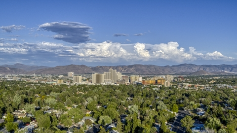 DXP001_005_0003 - Aerial stock photo of A wide view of the city skyline in Reno, Nevada