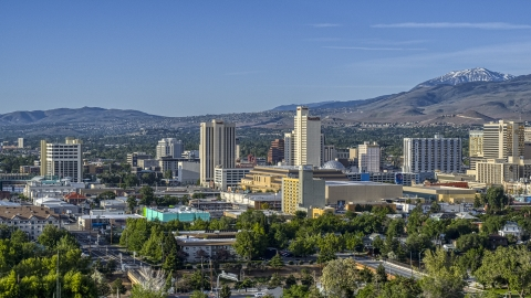 DXP001_006_0003 - Aerial stock photo of A view of high-rise casino resorts in Reno, Nevada