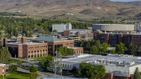 DXP001_006_0006 - Aerial stock photo of The campus of the University of Nevada in Reno, Nevada