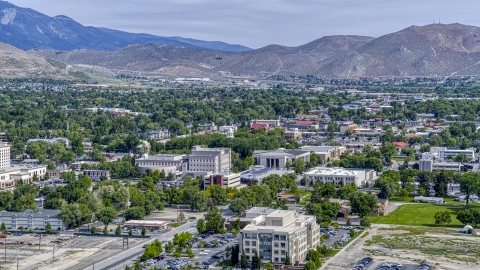 DXP001_007_0001 - Aerial stock photo of The Nevada State Capitol dome and state government buildings in Carson City, Nevada