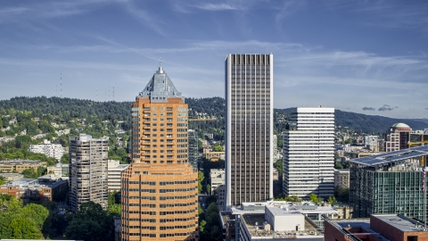DXP001_011_0003 - Aerial stock photo of KOIN Center and Wells Fargo Center skyscrapers in Downtown Portland, Oregon