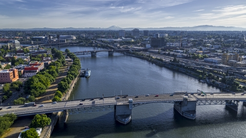 DXP001_011_0011 - Aerial stock photo of The Morrison Bridge and the Willamette River, Downtown Portland, Oregon