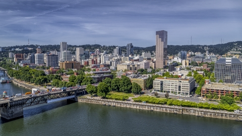 DXP001_012_0004 - Aerial stock photo of City buildings across the Willamette River in Downtown Portland, Oregon
