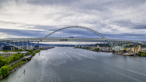 DXP001_013_0004 - Aerial stock photo of Fremont Bridge over the Willamette River in Downtown Portland, Oregon