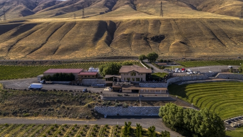 DXP001_018_0014 - Aerial stock photo of Maryhill Winery in Goldendale, Washington