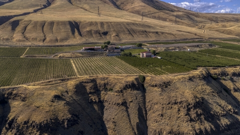 DXP001_018_0021 - Aerial stock photo of A view of the Maryhill Winery and vineyards from a cliff in Goldendale, Washington