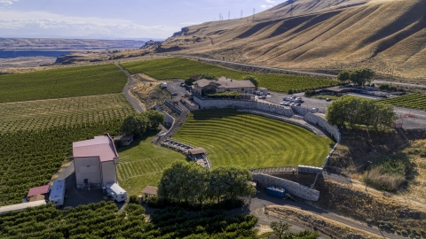 DXP001_018_0024 - Aerial stock photo of The amphitheater by the Maryhill Winery in Goldendale, Washington