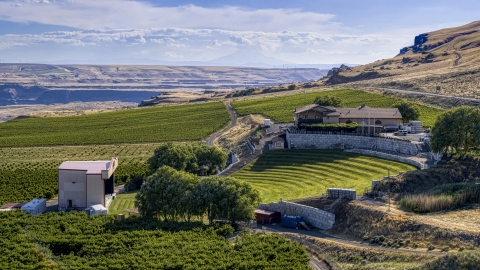 DXP001_018_0032 - Aerial stock photo of The amphitheater and stage at Maryhill Winery in Goldendale, Washington