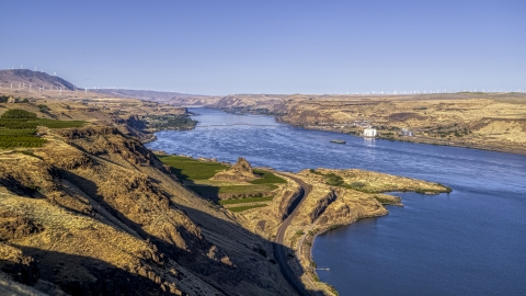 DXP001_019_0002 - Aerial stock photo of A wide view of the Columbia River in Goldendale, Washington