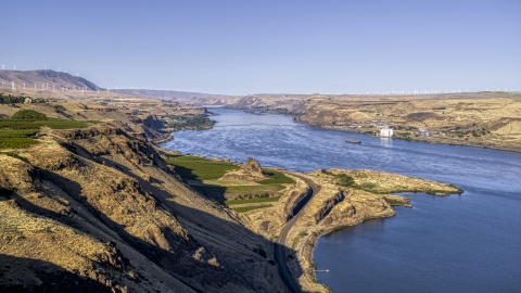 DXP001_019_0003 - Aerial stock photo of The Columbia River seen from steep cliffs in Goldendale, Washington