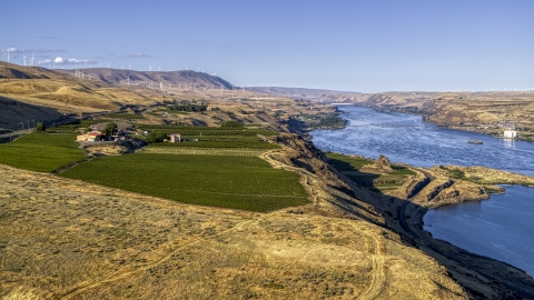 DXP001_019_0011 - Aerial stock photo of The Maryhill Winery overlooking the Columbia River in Goldendale, Washington
