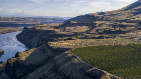 DXP001_019_0025 - Aerial stock photo of The Lewis and Clark Highway seen from Maryhill Winery in Goldendale, Washington