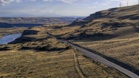 DXP001_019_0026 - Aerial stock photo of Lewis and Clark Highway in Goldendale, Washington