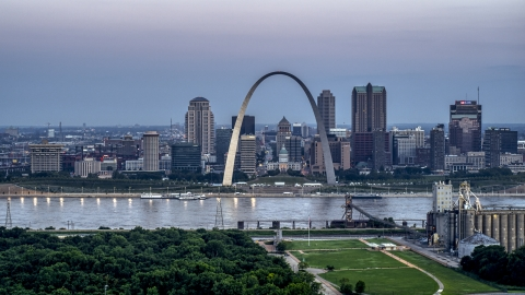 DXP001_037_0014 - Aerial stock photo of The Gateway Arch and the skyline of Downtown St. Louis, Missouri, at twilight