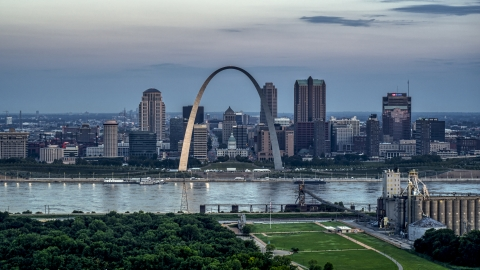 DXP001_037_0017 - Aerial stock photo of Gateway Arch and the skyline of Downtown St. Louis, Missouri, at twilight
