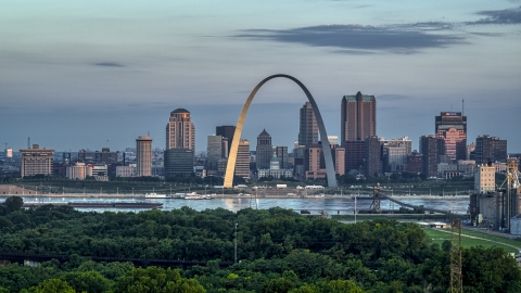 DXP001_038_0001 - Aerial stock photo of The riverfront Gateway Arch in Downtown St. Louis, Missouri, at sunrise