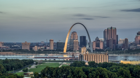 DXP001_038_0002 - Aerial stock photo of The Gateway Arch at sunrise in Downtown St. Louis, Missouri
